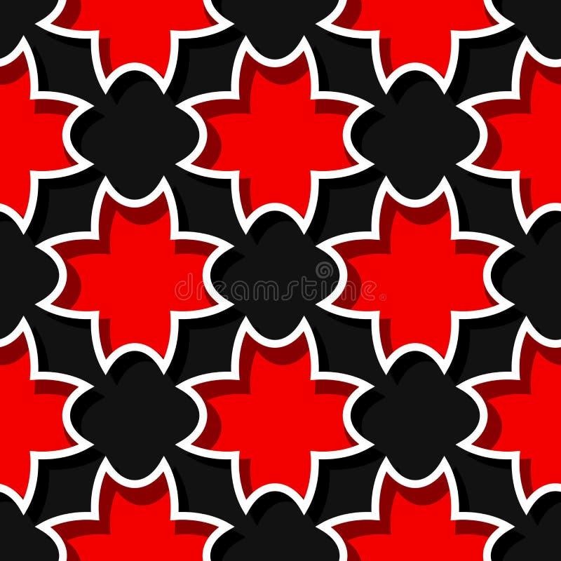 Безшовная черная предпосылка с флористическими красными элементами 3d бесплатная иллюстрация