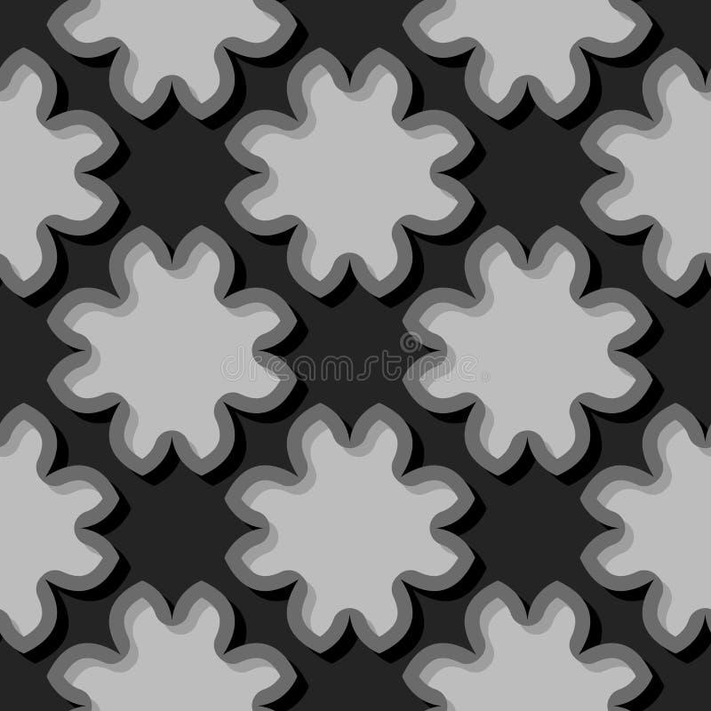 Безшовная черная предпосылка с флористическими элементами 3d иллюстрация вектора