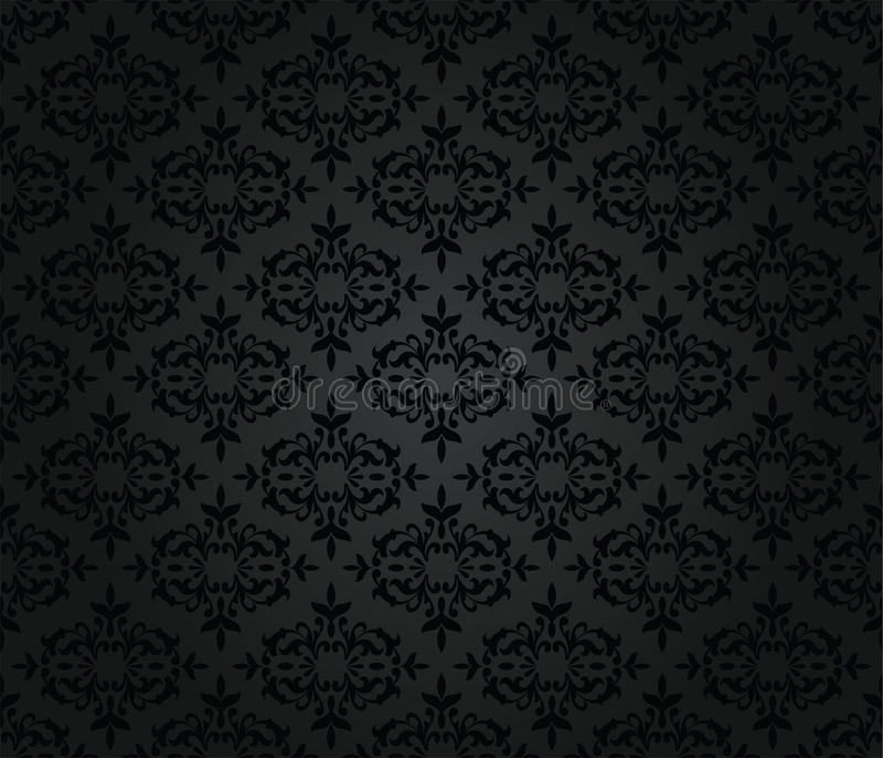 Безшовная черная флористическая картина обоев штофа иллюстрация штока