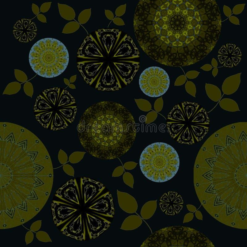 Безшовная чернота прованского зеленого цвета цветочного узора бесплатная иллюстрация