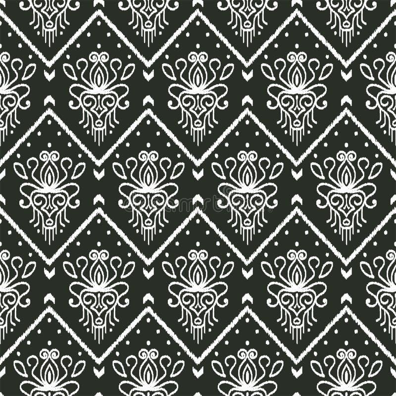 Безшовная черно-белая картина с вышивкой Этнический дизайн стиля Ikat иллюстрация штока