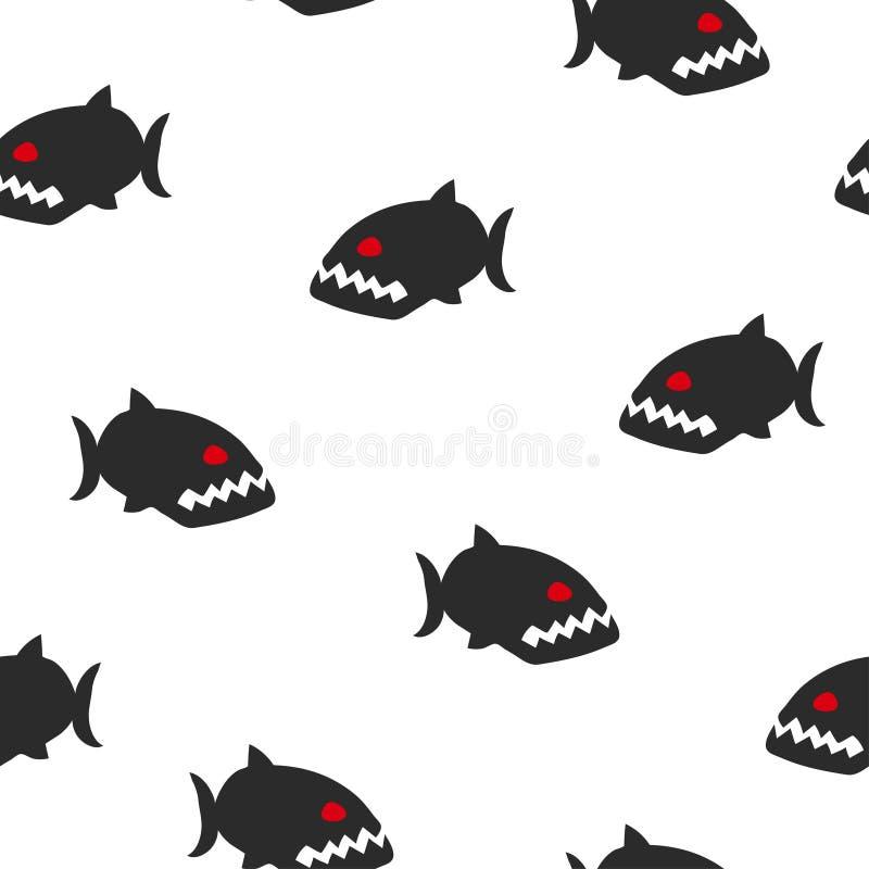 Безшовная черно-белая картина piranha Предпосылка рыб вектора иллюстрация вектора
