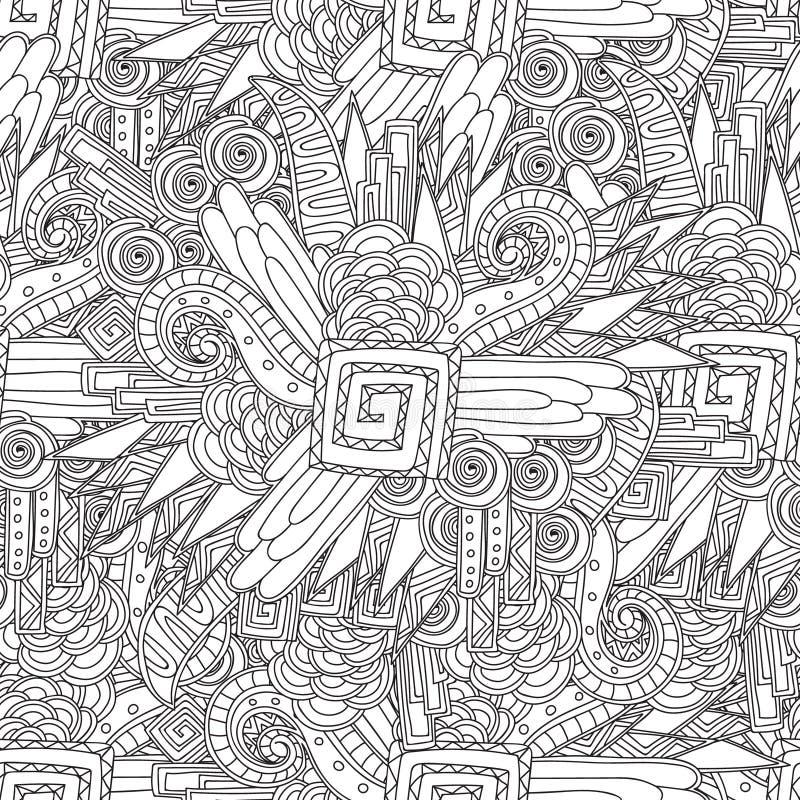 Безшовная черно-белая геометрическая картина Страница расцветки для книжка-раскраски sdults бесплатная иллюстрация