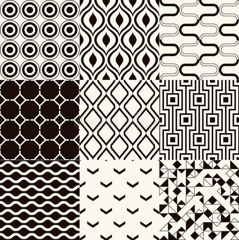Безшовная черно-белая геометрическая картина иллюстрация штока