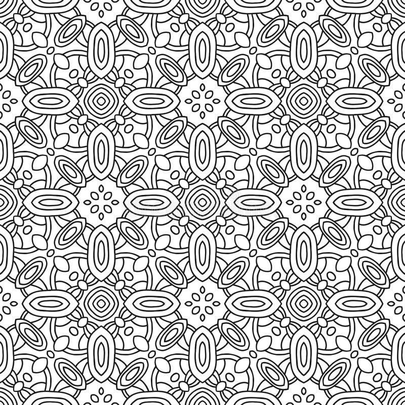 Безшовная черно-белая декоративная картина для страницы книжка-раскраски иллюстрация вектора