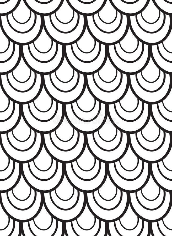 Безшовная черно-белая картина вектора с масштабами бесплатная иллюстрация