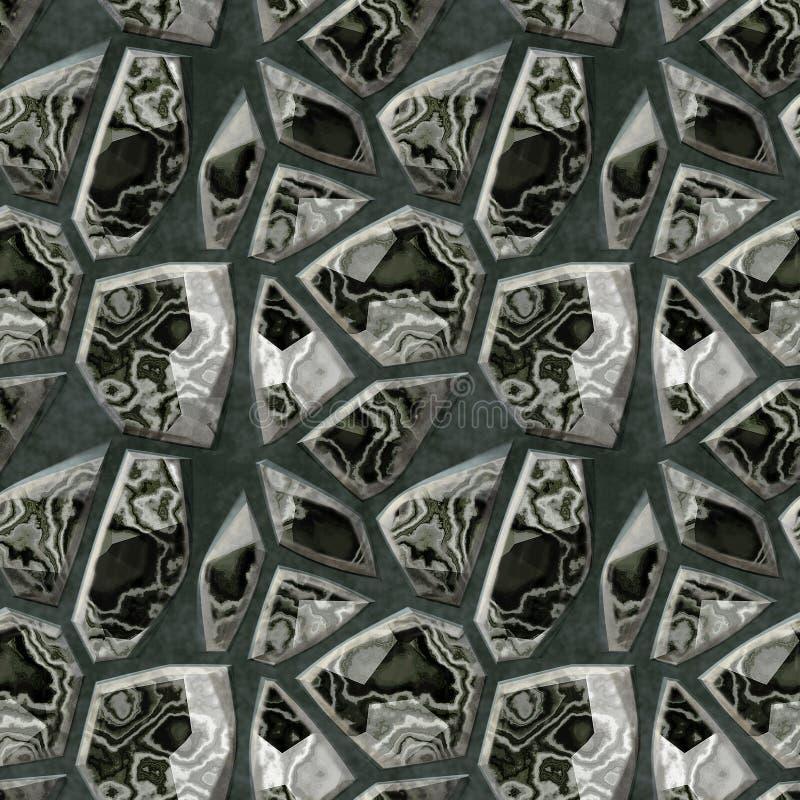 Безшовная черно-белая мраморная картина полигональных камней иллюстрация вектора