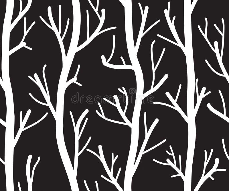 Безшовная черно-белая предпосылка с деревьями иллюстрация вектора