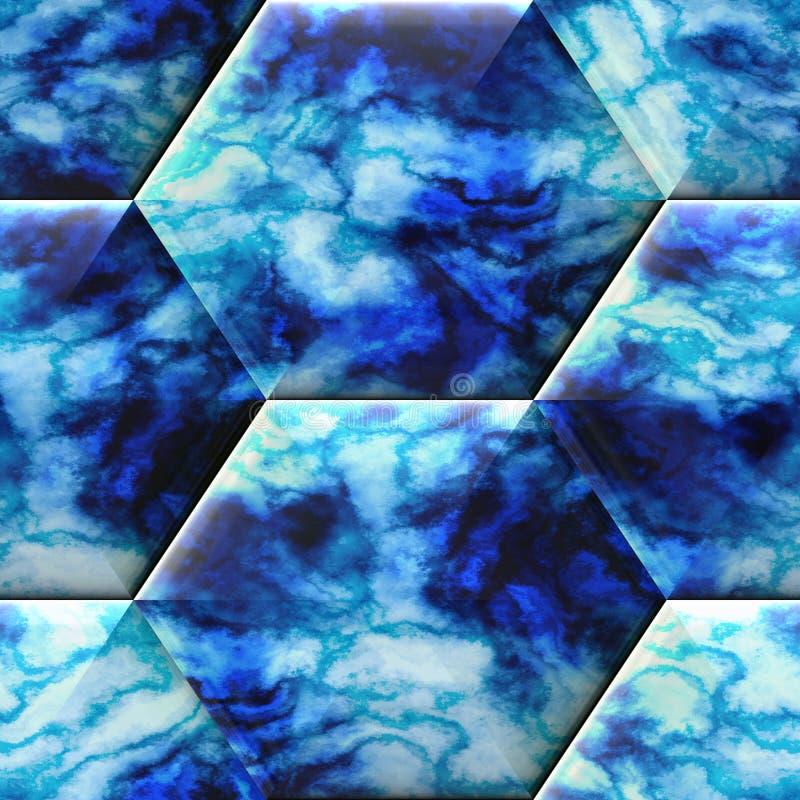 Безшовная шестиугольная предпосылка сброса с мраморной текстурой стоковая фотография rf