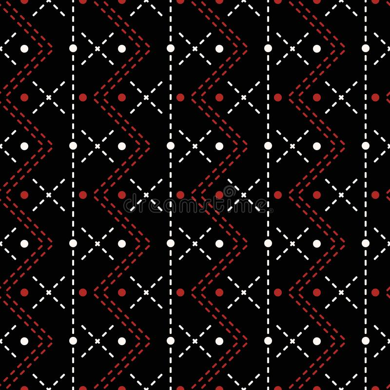 Безшовная шить печать вертикальный шить прямых и зигзага иллюстрация штока