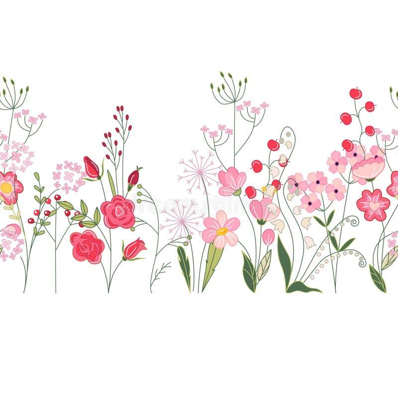 Безшовная щетка картины с травами, розами и полевыми цветками Бесконечная горизонтальная текстура иллюстрация вектора