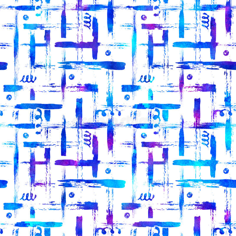 Безшовная щетка картины stripes шотландка Голубой цвет на белой предпосылке Покрашенная рукой текстура усадьбы Чернила геометриче иллюстрация штока