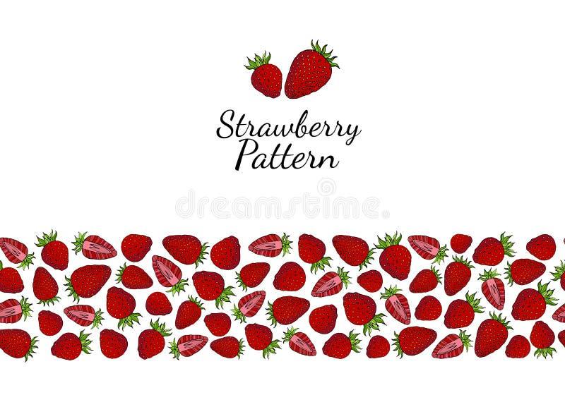 Безшовная щетка красных ягод клубники на белой предпосылке бесплатная иллюстрация