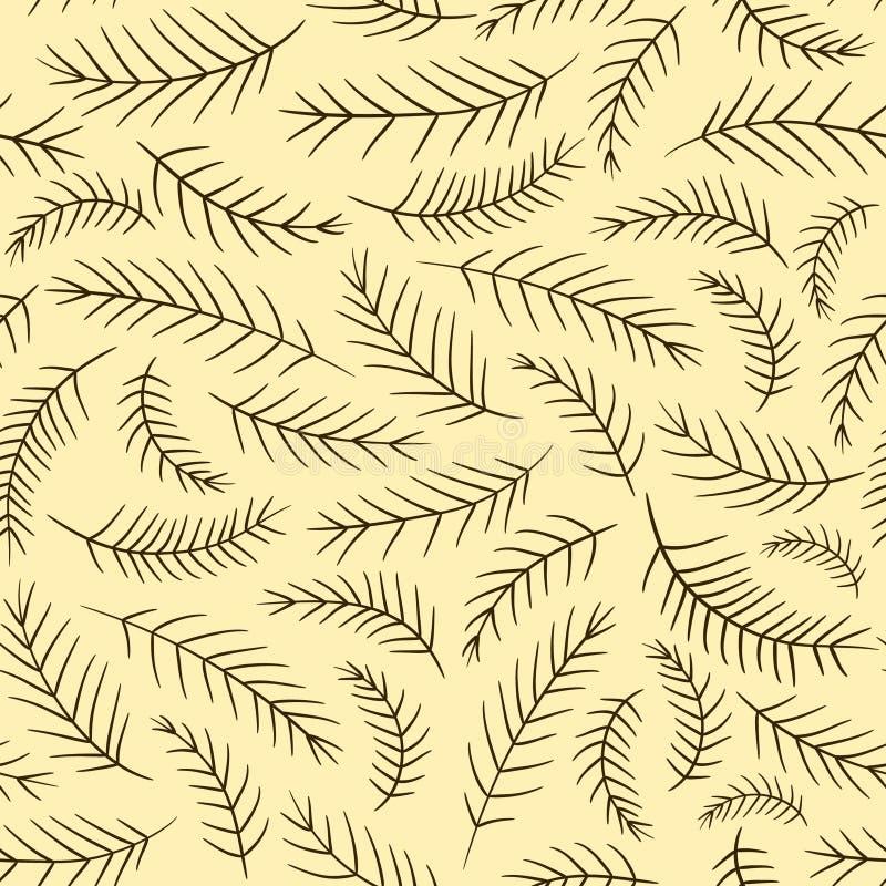 Безшовная элегантная винтажная картина ветви ели иллюстрация вектора