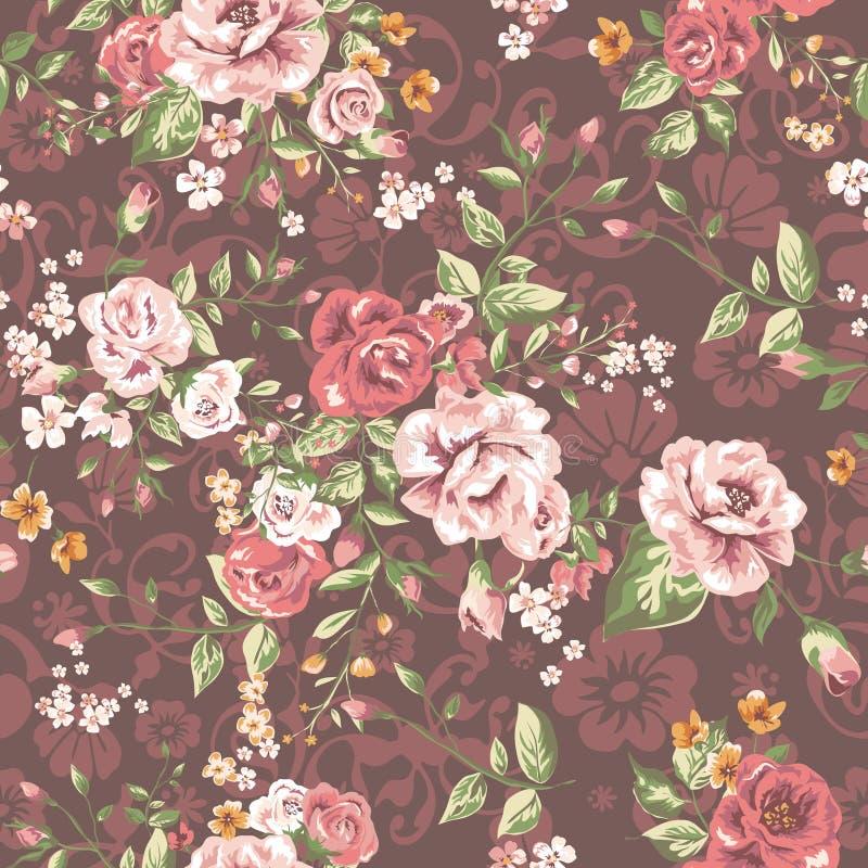 Безшовная элегантная картина с цветками сада стоковая фотография