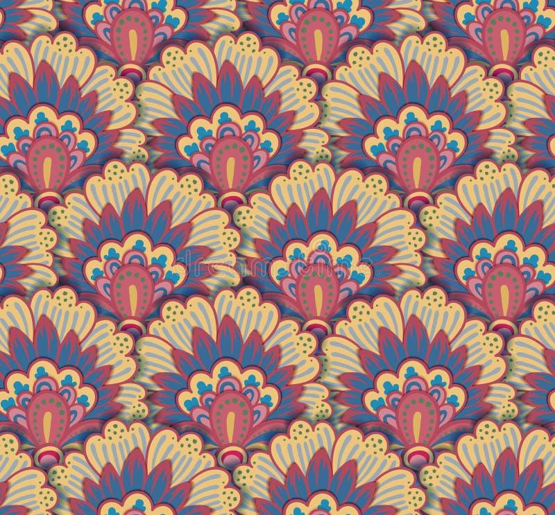 Безшовная этническая картина с флористическими поводами Шаблон печати мандалы стилизованный для ткани и бумаги Дизайн Boho шикарн иллюстрация вектора