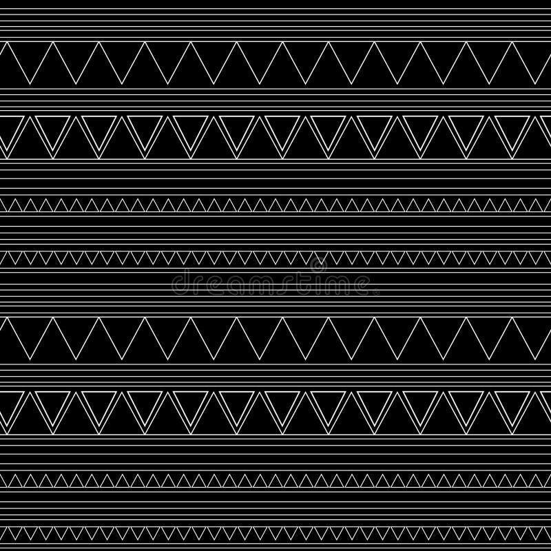 Безшовная этническая картина handmade Горизонтальные нашивки Черно-белая печать для ваших тканей Стиль иллюстрации вектора африка иллюстрация штока