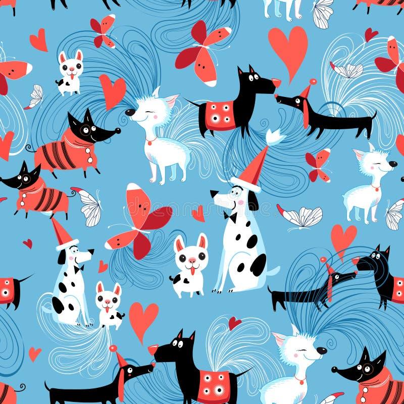 Безшовная яркая картина влюбленныхся собак иллюстрация вектора