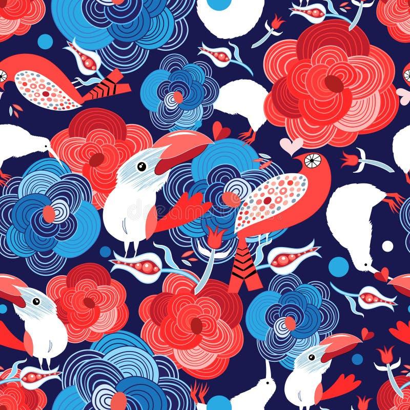 Безшовная яркая картина с цветками и птицами в любов иллюстрация штока