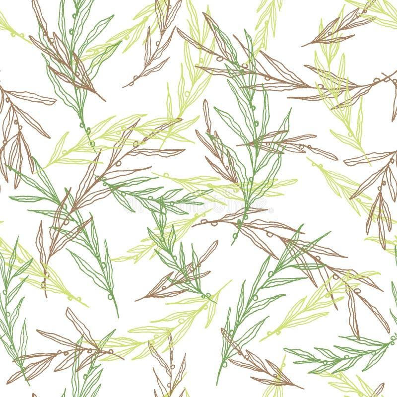 Безшовная handdrawn картина лист, предпосылка вектора листвы бесплатная иллюстрация