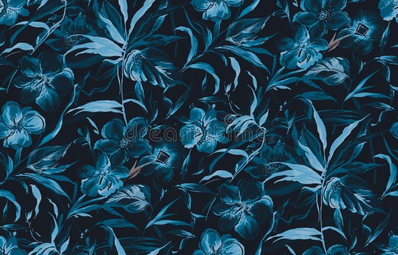 Безшовная mono голубая предпосылка цветка акварели бесплатная иллюстрация