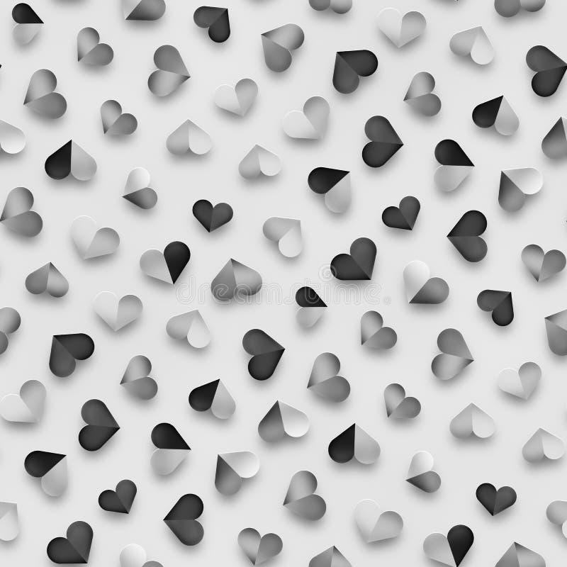 Безшовная monochrome картина с сердцами Повторять разбросанную текстуру форм иллюстрация штока