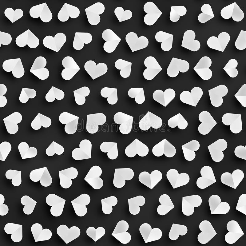 Безшовная monochrome картина с сердцами Повторять разбросанную текстуру форм бесплатная иллюстрация