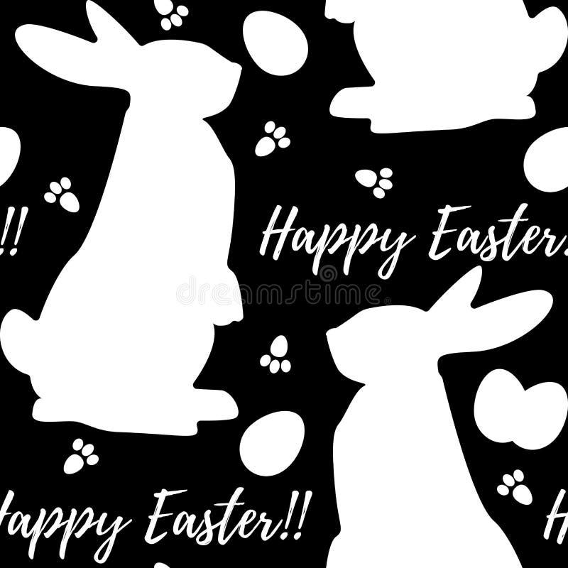 Безшовная monochrome картина с силуэтом дня пасхи кроликов бесплатная иллюстрация