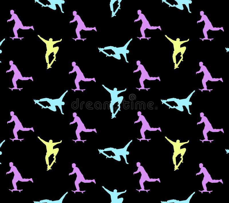 Безшовная skateboarding картина с пестроткаными силуэтами скейтбордистов на черной предпосылке иллюстрация вектора