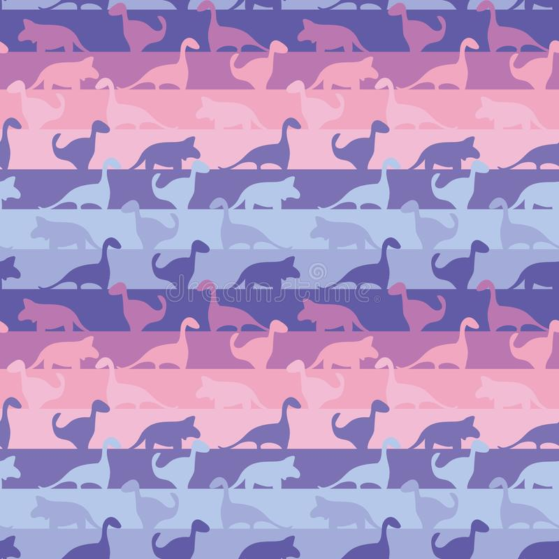 Безшовная striped картина с динозаврами в милых пинках и пурпурах иллюстрация штока