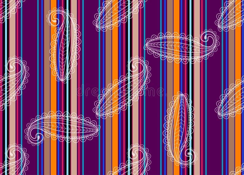 Безшовная striped картина с шнурком Пейсли просвечивающей белизны бесплатная иллюстрация