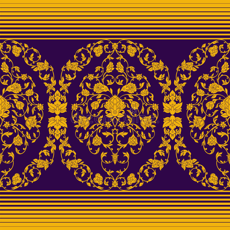 Безшовное вектора богато украшенное в восточном стиле иллюстрация штока