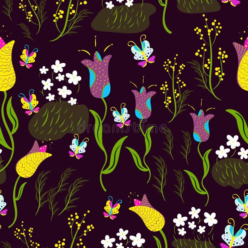 Безшовное весны флористическое с тюльпанами на фиолетовой предпосылке иллюстрация штока