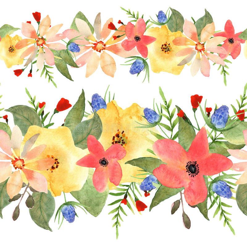 безшовное граници флористическое розы и нарисованная полевыми цветками акварель бесплатная иллюстрация