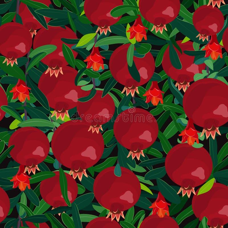 Безшовное дерево гранатового дерева картины, ветви с плодами, цветки и листья Свежие натуральные продукты, красная картина плодов иллюстрация штока