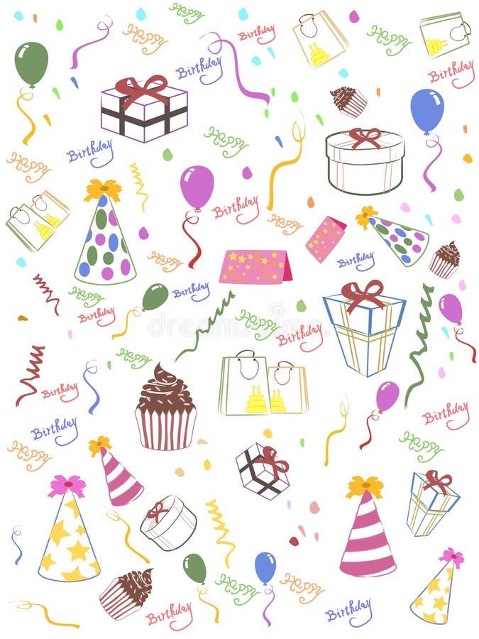 безшовное дня рождения предпосылки счастливое бесплатная иллюстрация