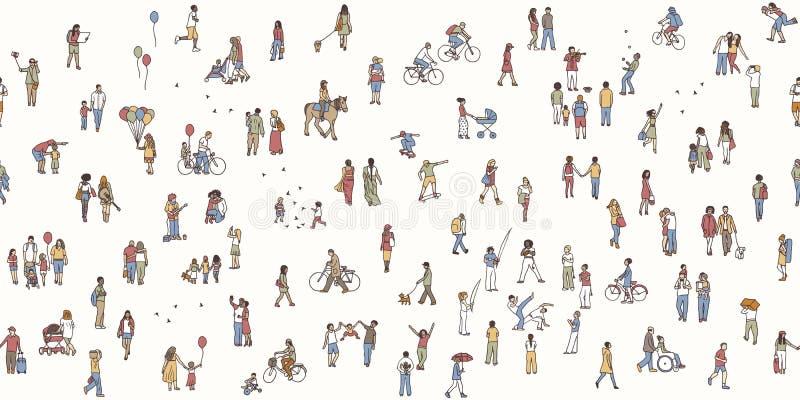 Безшовное знамя крошечных пешеходов иллюстрация штока