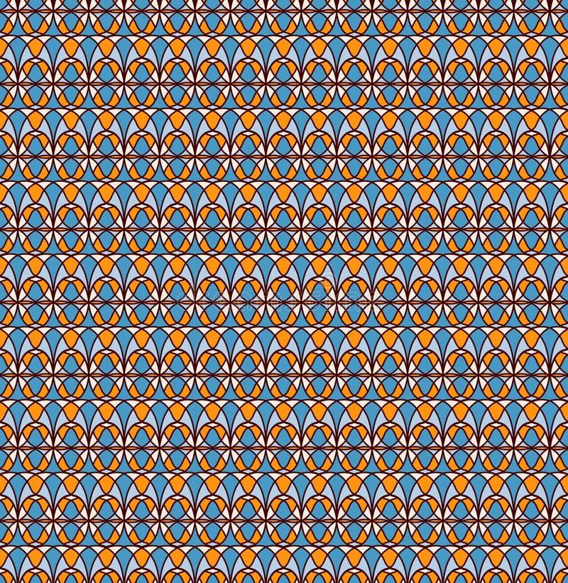 безшовное картины ретро сливк, синь, желтый цвет, краснокоричневый стоковая фотография