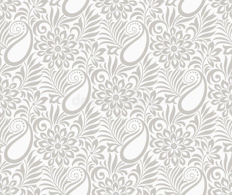 Безшовное Пейсли с цветком иллюстрация штока