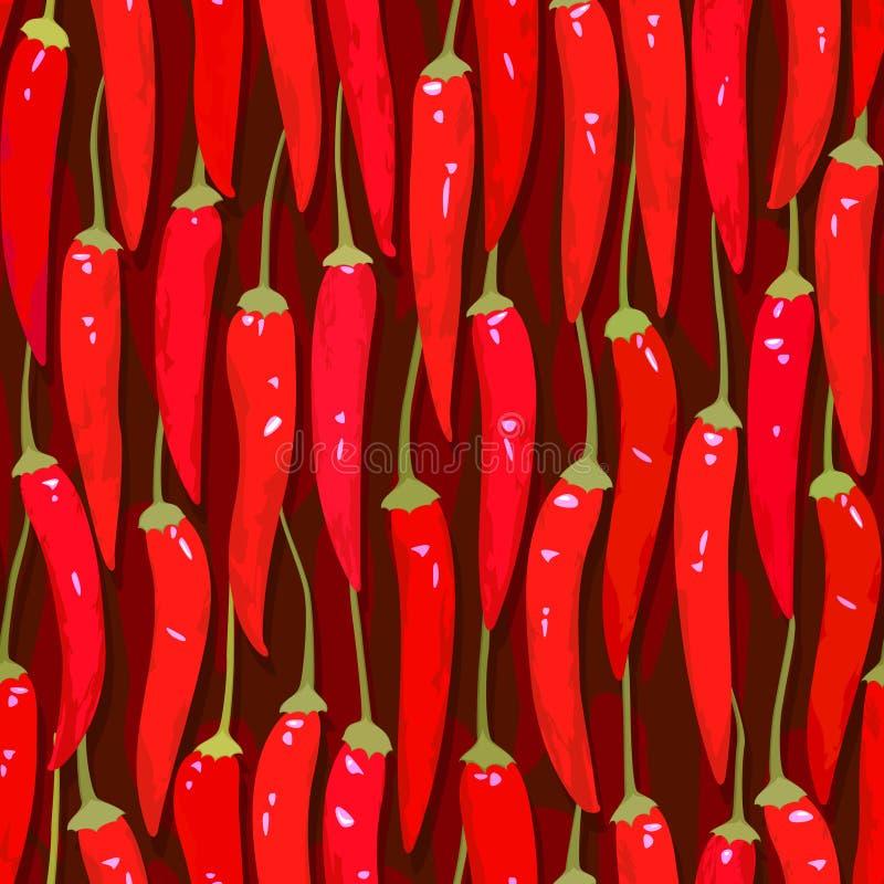 безшовное перца chili cayenne красное иллюстрация вектора