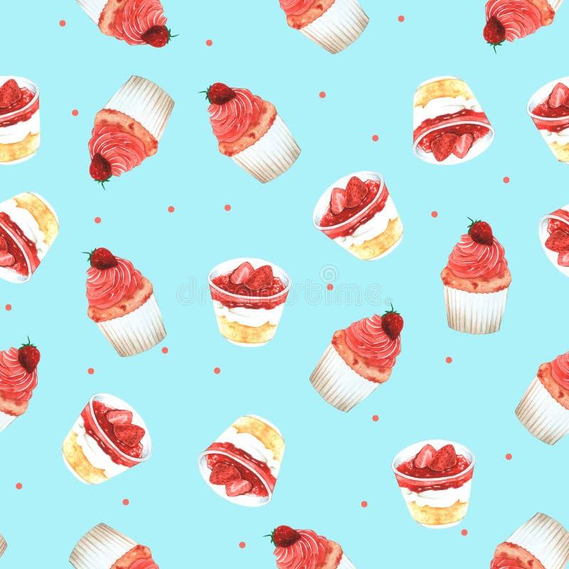 Безшовное пирожное клубники картины для упаковки, красной предпосылки для одежды детей Нарисованная рука акварели иллюстрация вектора