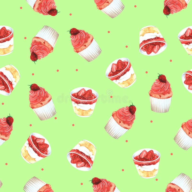 Безшовное пирожное клубники картины для упаковки, красной предпосылки для одежды детей Нарисованная рука акварели иллюстрация штока