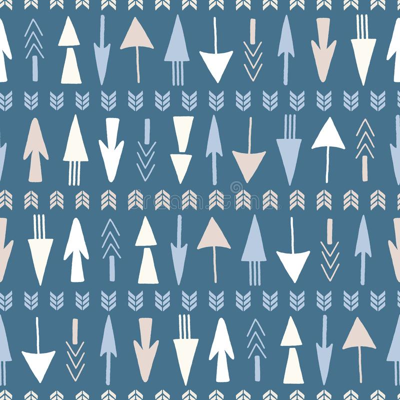 Безшовное повторение стрелок руки вычерченных на голубой предпосылке Геометрический дизайн вектора бесплатная иллюстрация