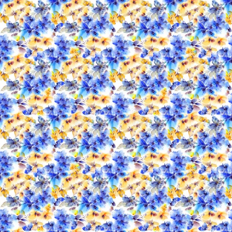 безшовное предпосылки флористическое Сине-желтая картина цветков Прозрачные флористические лепестки Шаблон картины ткани стоковые фотографии rf