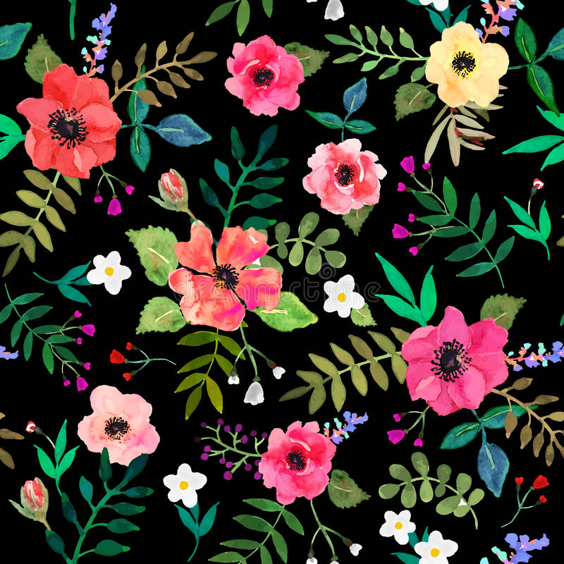 безшовное предпосылки флористическое красная притяжка цветков и листьев иллюстрация штока