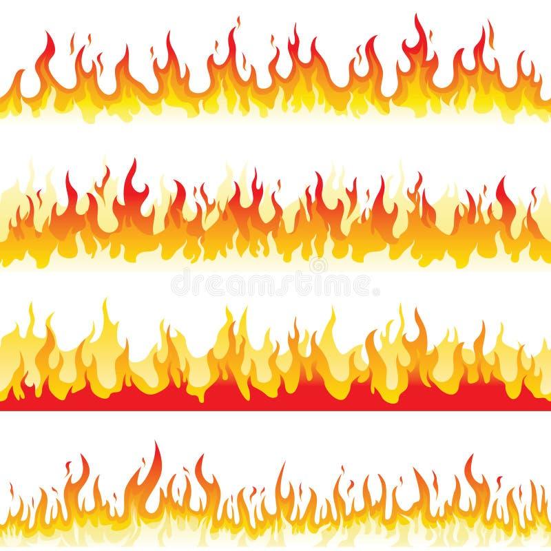 Безшовное пламя огня иллюстрация штока