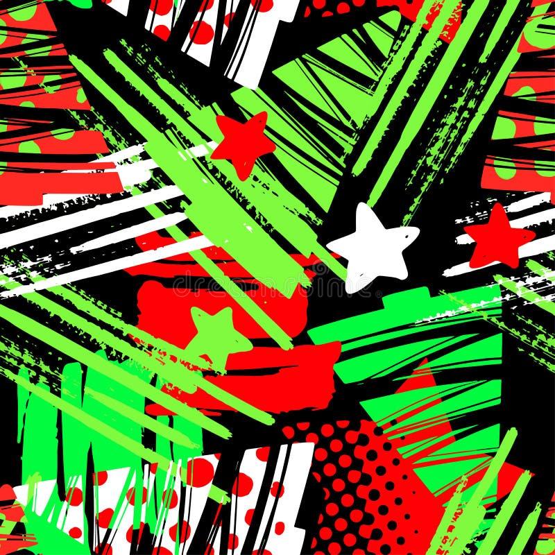 Безшовное рождество повторяя картину чернил ремесла руки выразительную иллюстрация вектора