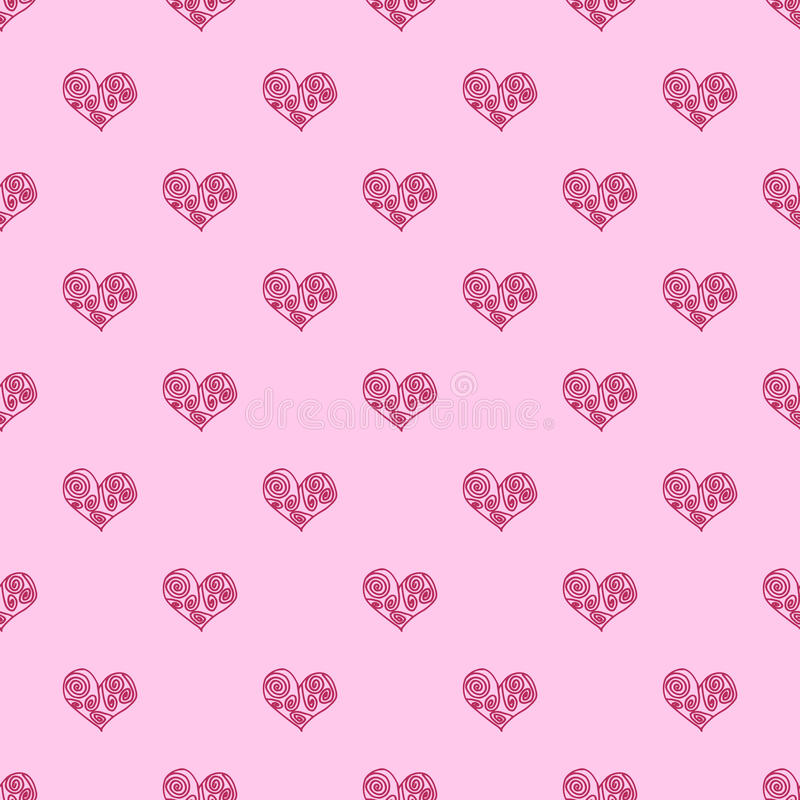 Безшовное сердце предпосылки картины Повторять картину сердца Розовая картина сердца Греческая картина сердца иллюстрация штока