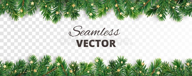 Безшовное украшение вектора изолированное на белизне Рамка рождественской елки, гирлянда с орнаментами бесплатная иллюстрация