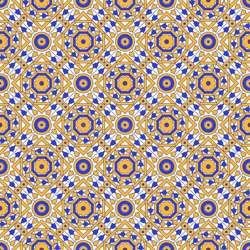 Безшовное фоновое изображение винтажной квадратной перекрестной круглой картины калейдоскопа цветка восьмиугольника бесплатная иллюстрация